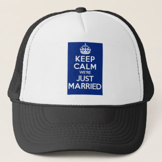 KEEP CALM we're JUST MARRIED (Blue) Trucker Hat