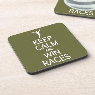 Keep Calm & Win Races custom color coasters