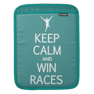Keep Calm & Win Races custom color iPad sleeve