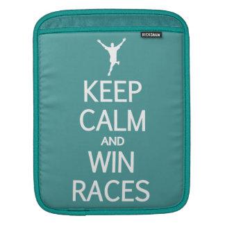 Keep Calm & Win Races custom color iPad sleeve