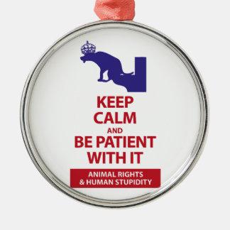 Keep Calm with Human Stupidity Metal Ornament