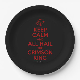 Keep Calm with the Crimson King Paper Plate