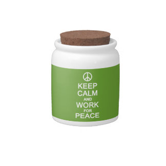 Keep Calm & Work For Peace candy jars