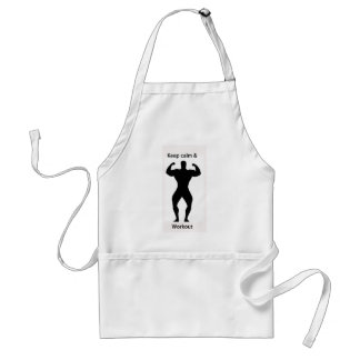 Keep calm & workout adult apron