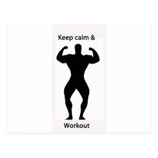 Keep calm & workout postcard