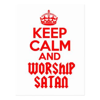 Keep Calm worship Satan Postcard