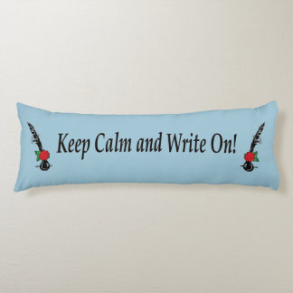 Keep Calm Write On Red Rose Quill Ink Body Pillow