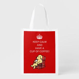 Keep Calm Yellow Labrador Grocery Bags