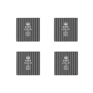 Keep Calm Your Text Classic Black Stripes Stone Magnet