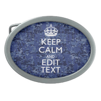 Keep Calm Your Text on Blue Digital Camouflage Belt Buckle