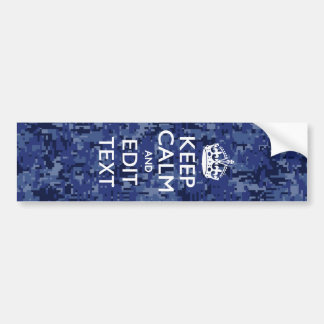 Keep Calm Your Text on Blue Digital Camouflage Bumper Sticker