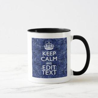 Keep Calm Your Text on Blue Digital Camouflage Mug