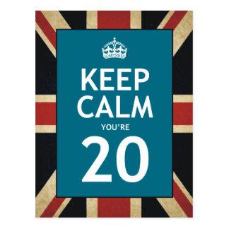 Keep Calm You're 20 Post Card