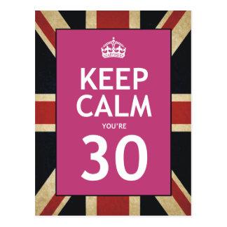 Keep Calm You're 30 Postcard