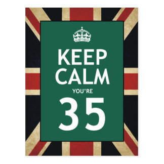 Keep Calm You're 35 Postcard
