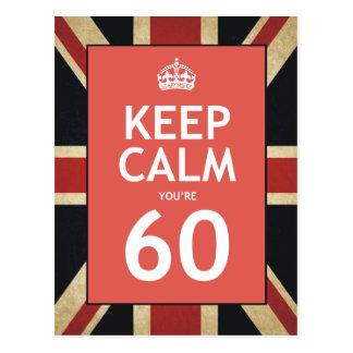 Keep Calm You're 60 Postcard