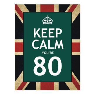 Keep Calm You're 80 Postcard