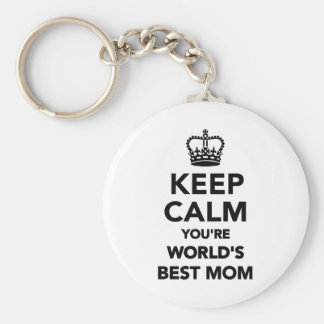 Keep calm you're worlds best mom basic round button keychain
