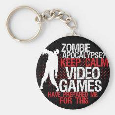 Keep Calm Zombie Apocalypse Funny Gamers Keychain at Zazzle