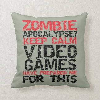 Keep Calm Zombie Apocalypse Pillow for Gamer Geek
