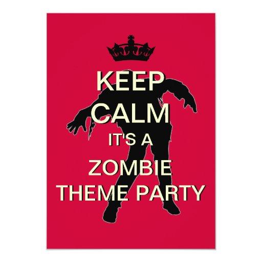 "Keep Calm Zombie Theme Party Invitation (Red) 5"" X 7"" Invitation Card"