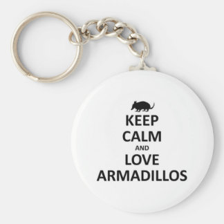 keep calma nd love Armadillos Keychain