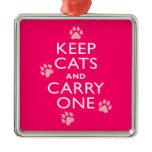 Keep Cats Metal Ornament
