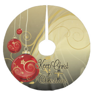 Keep Christ In Christmas, Gold/Red Christian Brushed Polyester Tree Skirt