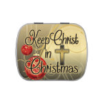 Keep Christ in Christmas, Gold/Red Christian Jelly Belly Candy Tin