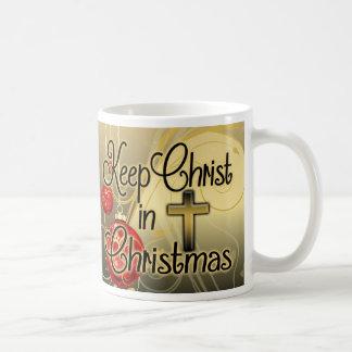 Keep Christ in Christmas, Gold/Red Christian Coffee Mug