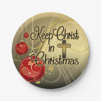 Keep Christ in Christmas, Gold/Red Christian Paper Plate