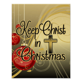 Keep Christ in Christmas, Gold/Red Christian Poster