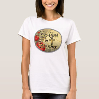 Keep Christ in Christmas, Gold/Red Christian T-Shirt