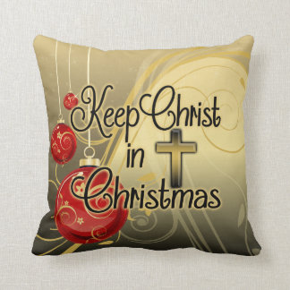 Keep Christ in Christmas, Gold/Red Christian Throw Pillow