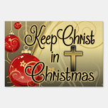 Keep Christ in Christmas, Red/Gold Christian Yard Lawn Signs