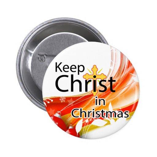 Keep Christ in Christmas, Swirl 2 Inch Round Button