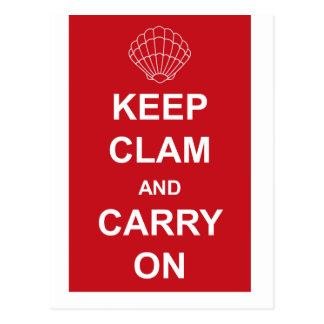 KEEP CLAM AND CARRY ON POSTCARD