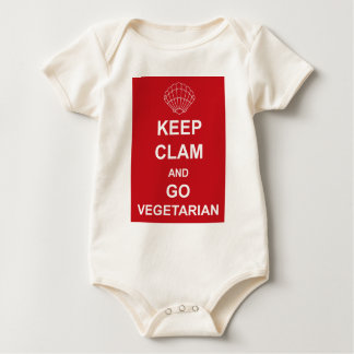KEEP CLAM AND GO VEGETARIAN BABY BODYSUIT