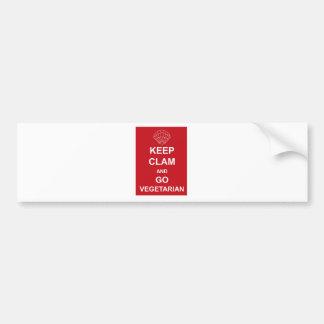 KEEP CLAM AND GO VEGETARIAN BUMPER STICKER