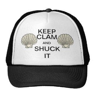 Keep Clam and Shuck It retro mesh Trucker's Cap Trucker Hat