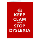 Keep Clam and Stop Dyslexia Card
