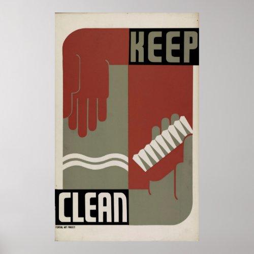 Keep Clean 1938 WPA Vintage Poster