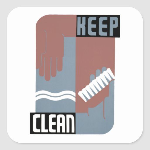 Keep Clean Square Sticker