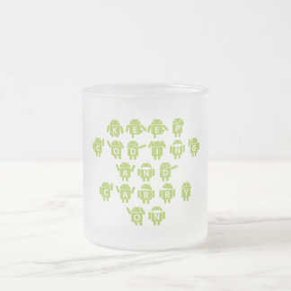 Keep Coding And Carry On (Bug Droid Font Shoutout) Frosted Glass Coffee Mug