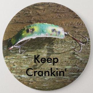 Keep Crankin' Old Fishing Lure Button