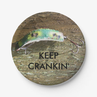 Keep Crankin' Old Fishing Lure Paper Plate