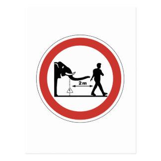 Keep Distance to Elephants, Sign, Switzerland Postcard