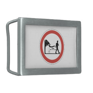 Keep Distance to Elephants, Sign, Switzerland Rectangular Belt Buckle