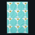 """Keep &#39;Em Coming Martini Kitchen Towel (turquoise)<br><div class=""""desc"""">This Keep &#39;Em Coming Martini Kitchen Towel features a turquoise background and the tiled image of a white silhouette of a martini glass. Inside each glass is a glorious green olive with an orange pimento. This is a fun kitchen towel for everyone who wishes they were a character in a...</div>"""