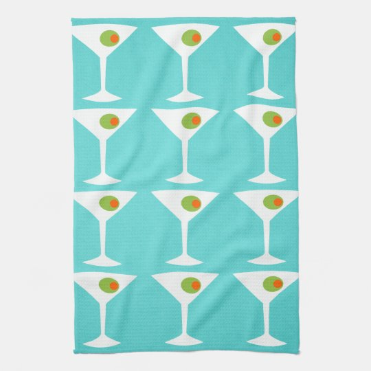 Keep Em Coming Martini Kitchen Towel Turquoise Zazzle Com